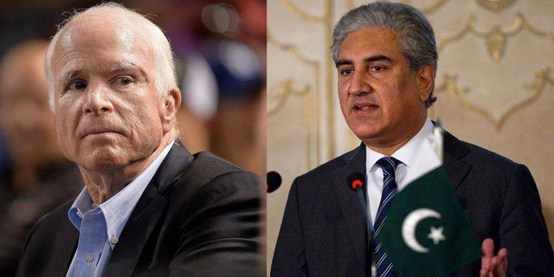 Foreign Minister Qureshi offers condolences on John McCain's death
