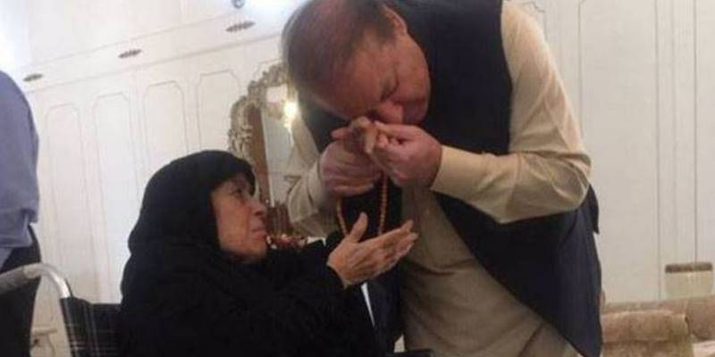 Teary-eyed Nawaz Sharif given rousing welcome by mother in Jati Umra