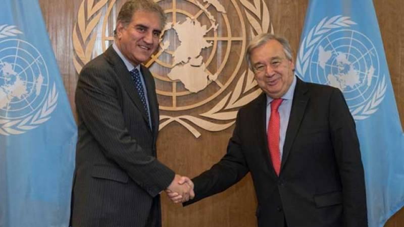 FM Qureshi seeks UN chief's intervention for settling Kashmir dispute