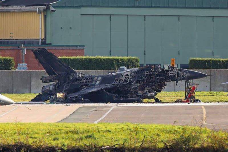 Belgian air force's F-16 destroyed during ground maintenance