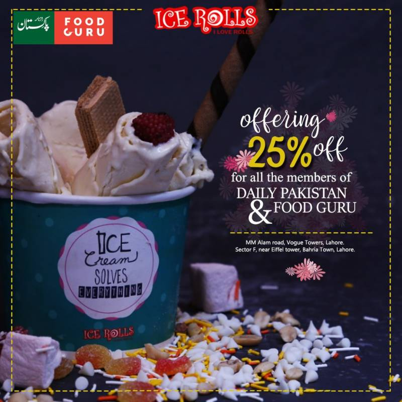 Here is a chance to avail 25% discount on yummy ice rolls