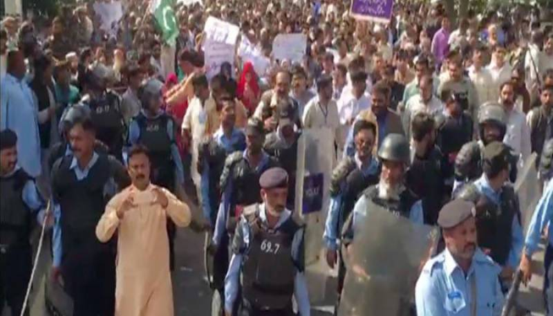 Utility Stores Corporation workers protest against likely closure in Islamabad
