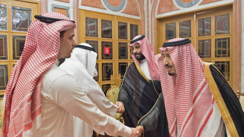 Khashoggi's son comes face-to-face with Saudi rulers after reports of 'body parts found'