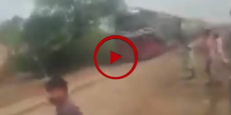 Man survives after collision with train in Ferozewala (VIDEO)