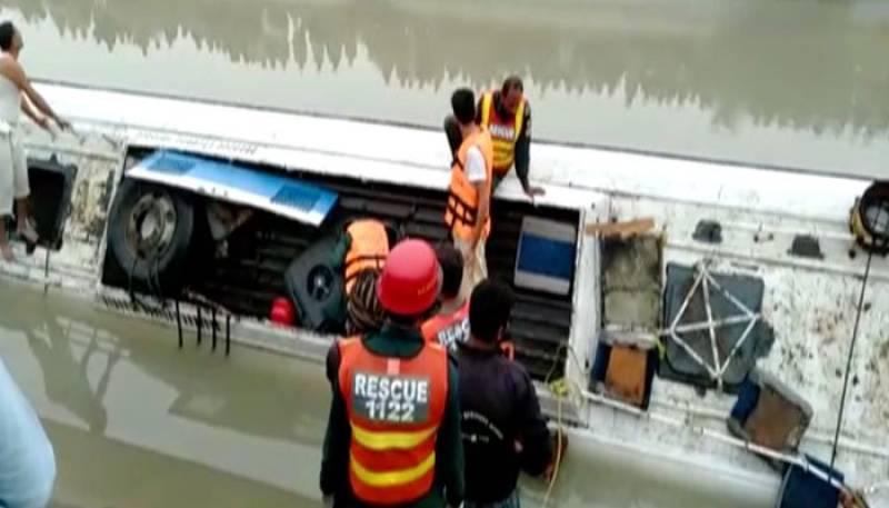 Six drown as passenger bus falls into canal near Taunsa
