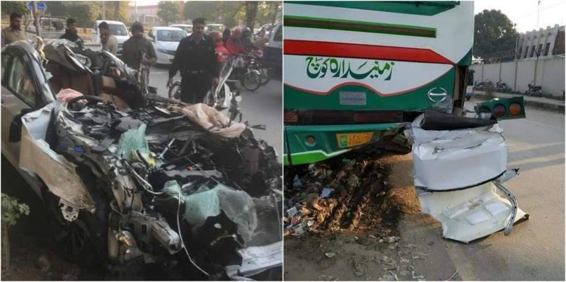 Teen son of ex-MOFA director dies after car hits bus on Islamabad highway (VIDEO)