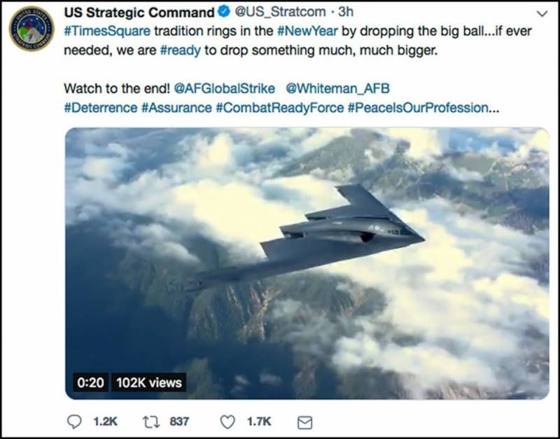 US military apologises for New Year's Eve bomb tweet