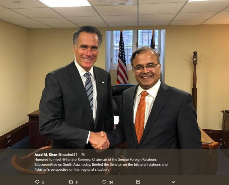 Pak ambassador briefs US senator on regional situation