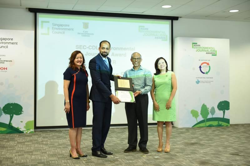 Pakistani journalist bags Asian Environmental Journalism Award in Singapore