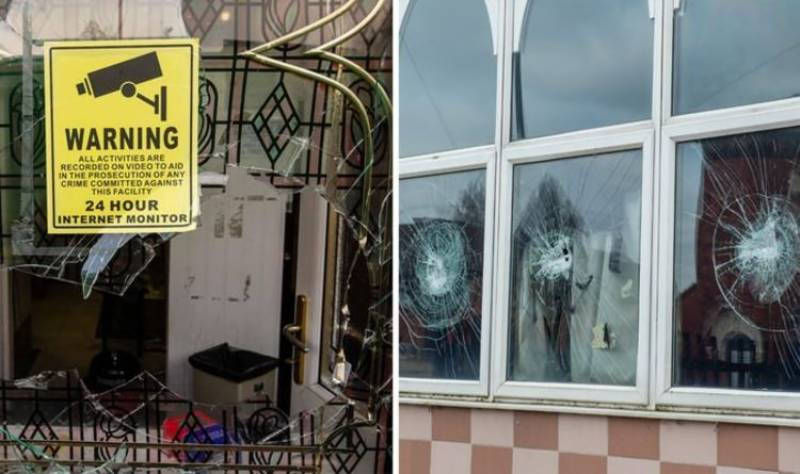Five UK mosques vandalized in overnight violence
