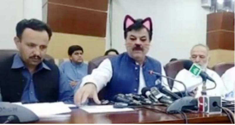 With activated cat filter, KP minister's presser streamed live