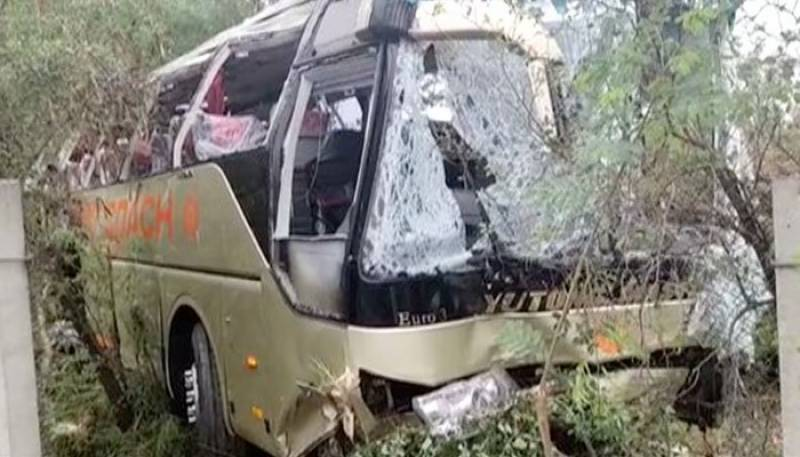 13 killed after passenger bus turns turtle in Hassan Abdal