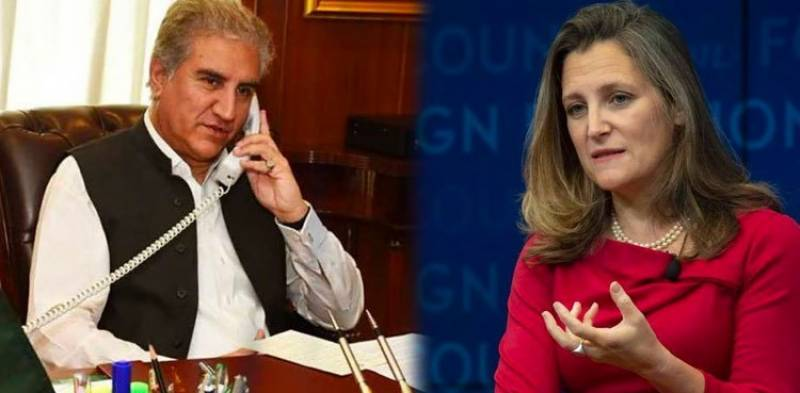FM Qureshi contacts Canadian counterpart over Indian grave violation of UNSC resolutions in occupied Kashmir