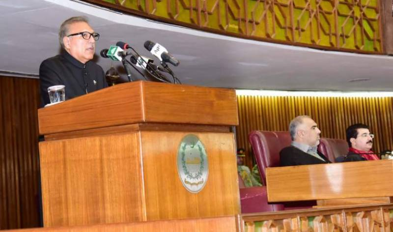 President Arif Alvi highlights Kashmir issue, domestic challenges in joint session