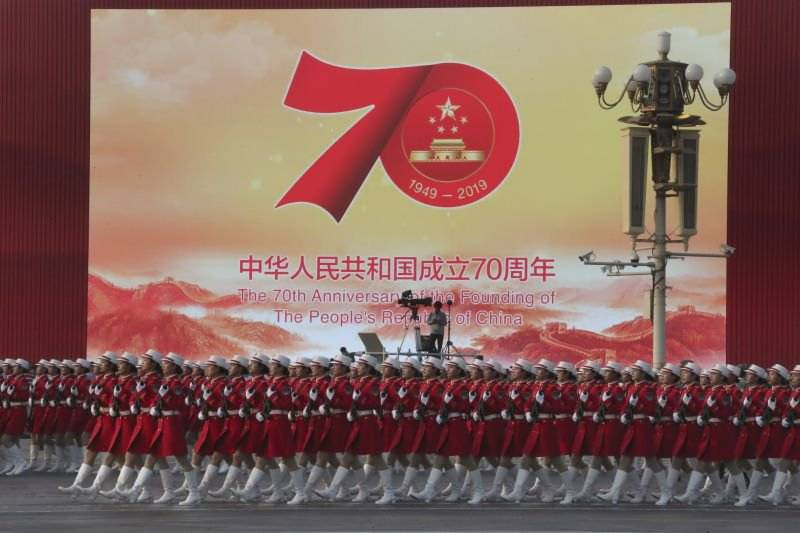 China marks 70th-anniversary celebrations of the founding of People's Republic today