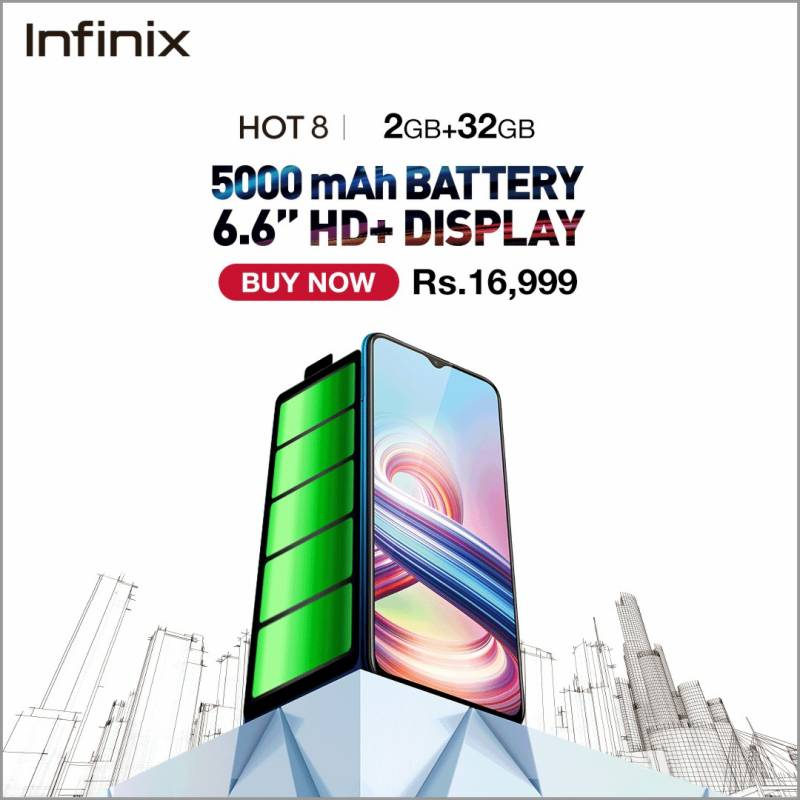 #SabSeBara Smartphone, Infinix Hot 8 with 5000mAh Battery available in Pakistan
