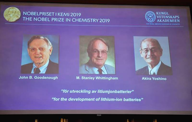 Trio win Nobel Chemistry Prize for developing lithium-ion battery