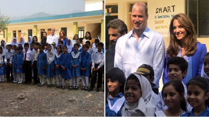 British Royal couple visit Girls High School, University Colony in Islamabad