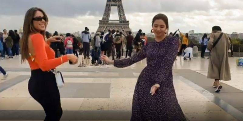 Mahira Khan shakes a leg with Lebanese actor Daniella Rahme in front of the Eiffel Tower