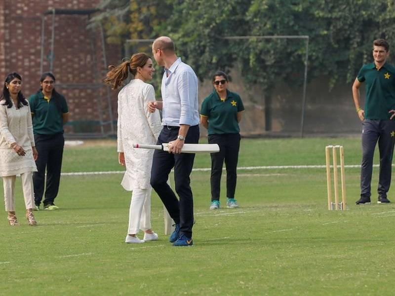 Prince William, wife Kate take to the crease at Pakistan cricket academy