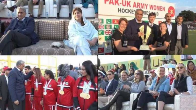 COAS Bajwa witnesses final match between Pakistan, UK Army women hockey teams