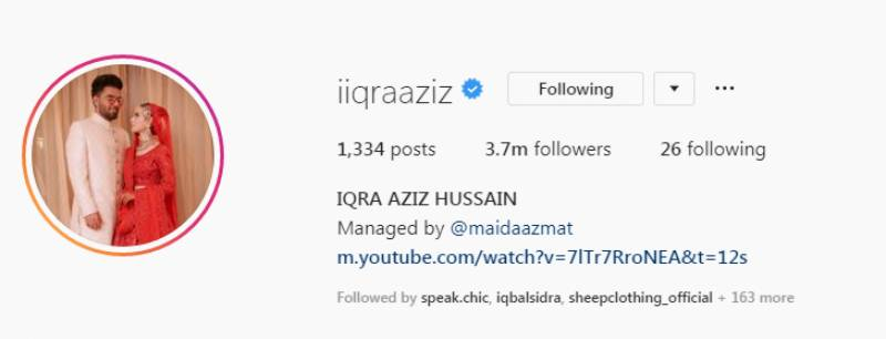 Iqra Aziz changes name on Instagram after marrying Yasir Hussain