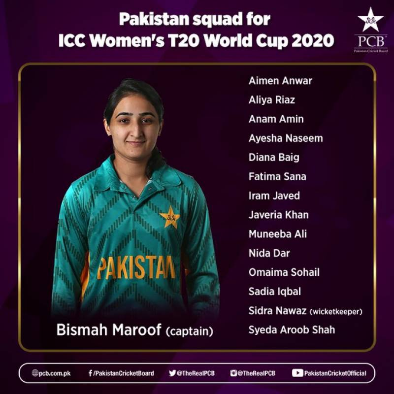 Pakistan squad for ICC Women's T20 World Cup 2020 announced