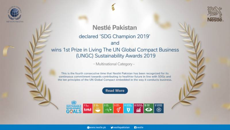 Nestlé Pakistan bags 'Living the Global Compact Best Practices Sustainability Award 2019'