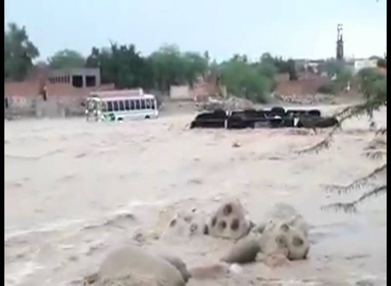 Ten drowned after passenger vehicles swept away by floodwater in DG Khan