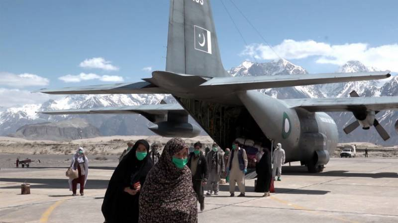 PAF C-130 aircraft carrying Zaireen from Dalbandin lands at Skardu airport