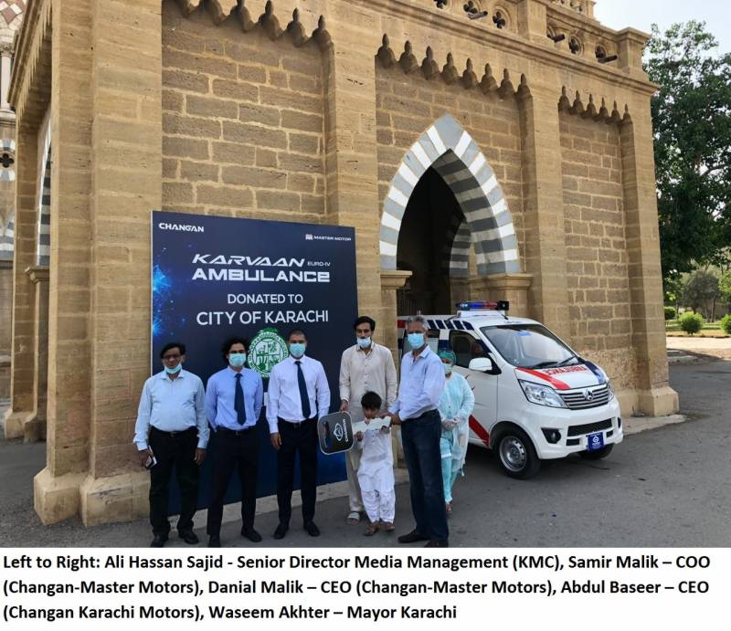 Changan-Master Motors donates Karvaan Euro-IV Ambulance to Karachi city