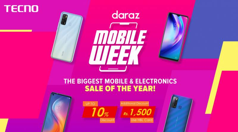 "Tecno co-sponsored with Daraz.pk for ""Mobile Week"" sale discount offers"