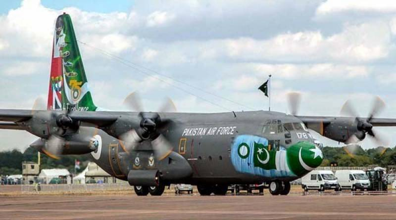 PAF C-130 aircraft airlifts bodies of Sikh Yatrees from Lahore lands at PAF base Peshawar