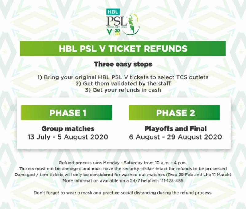 PSL 2020 tickets refund to start from Monday