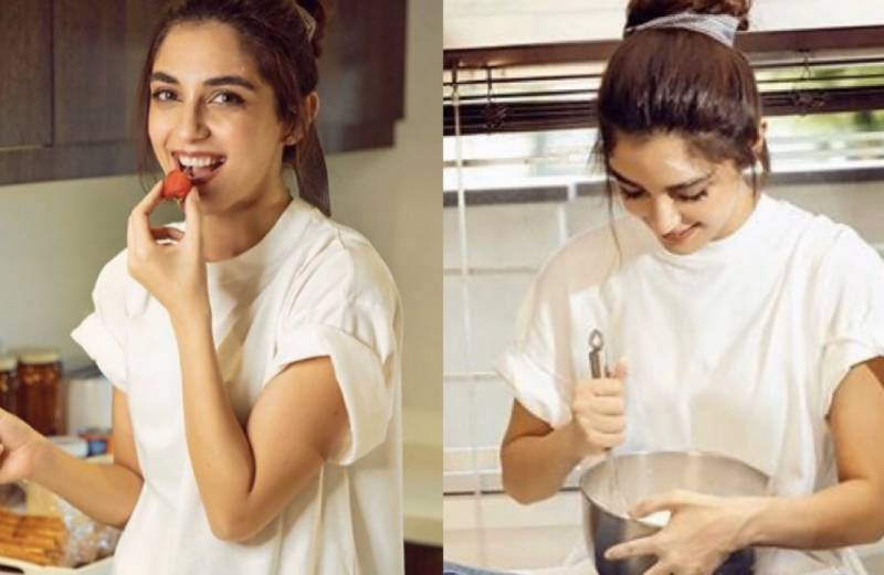 Maya Ali experimenting with her cooking skills