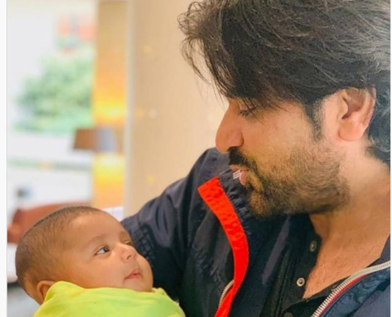 Humayun Saeed shares first official picture of Imran Ashraf's son