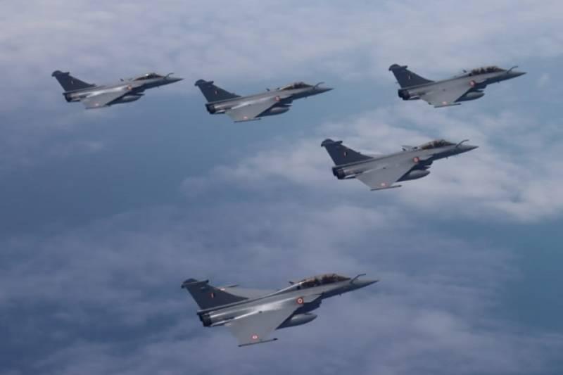 Rafale aircraft lands at an Indian Air force base in Ambala
