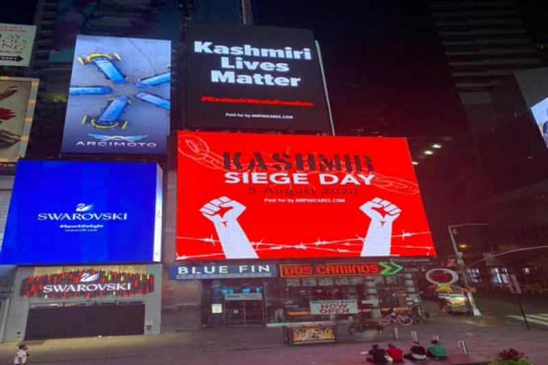 New York's Times Square lights up in solidarity for Kashmiri people