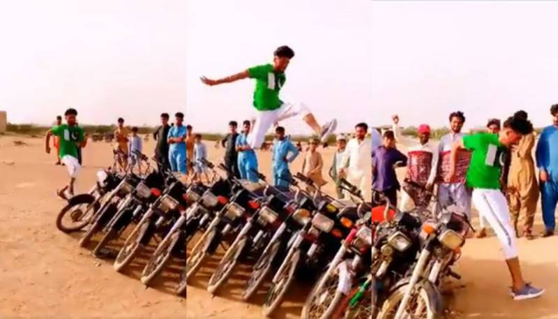 Pakistani boy becomes internet sensation with videos of long jump over bikes, lakes