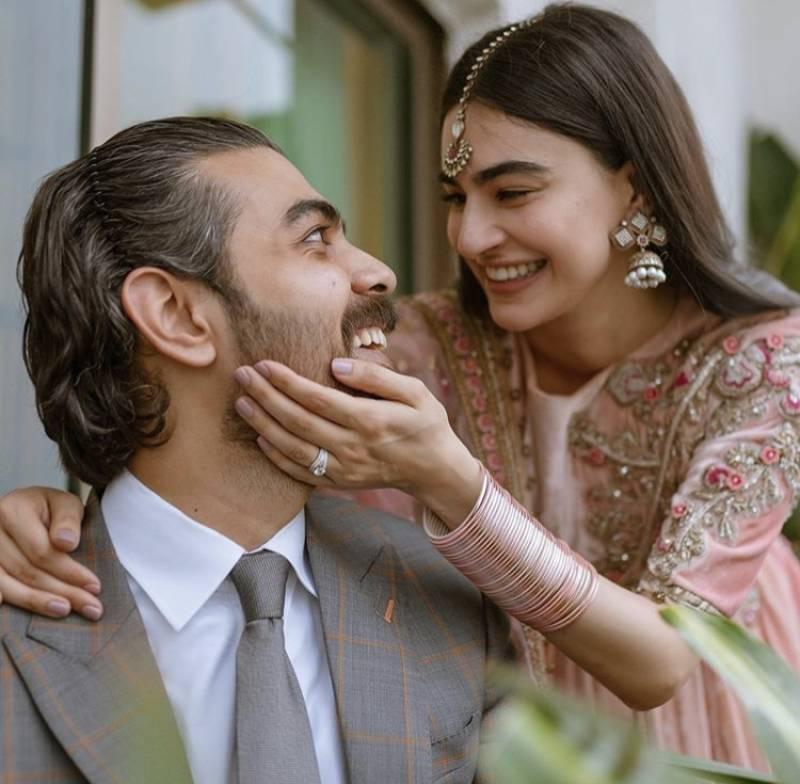 Saheefa Jabbar Khattak, Khizer Hussain look perfect in impromptu wedding shoot