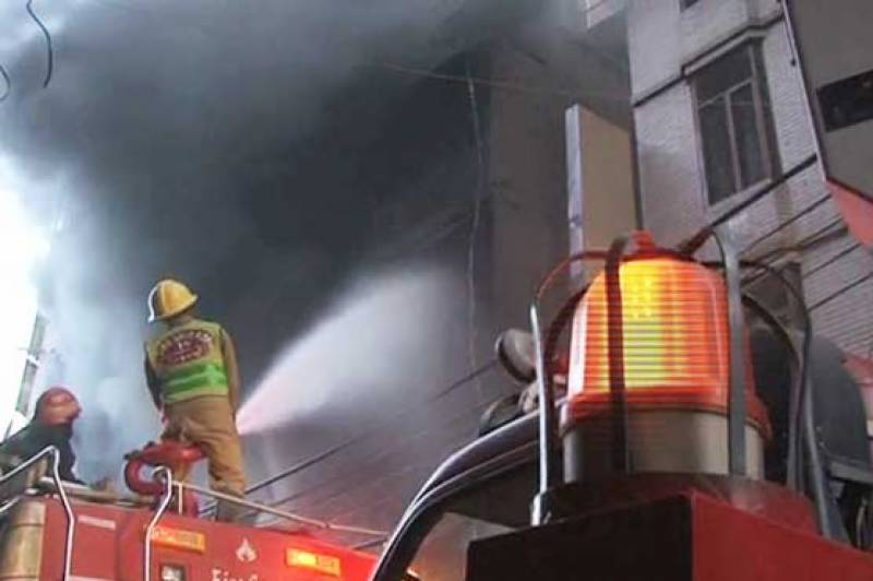 Fire gutted cloth store in Lahore's Anarkali Bazar