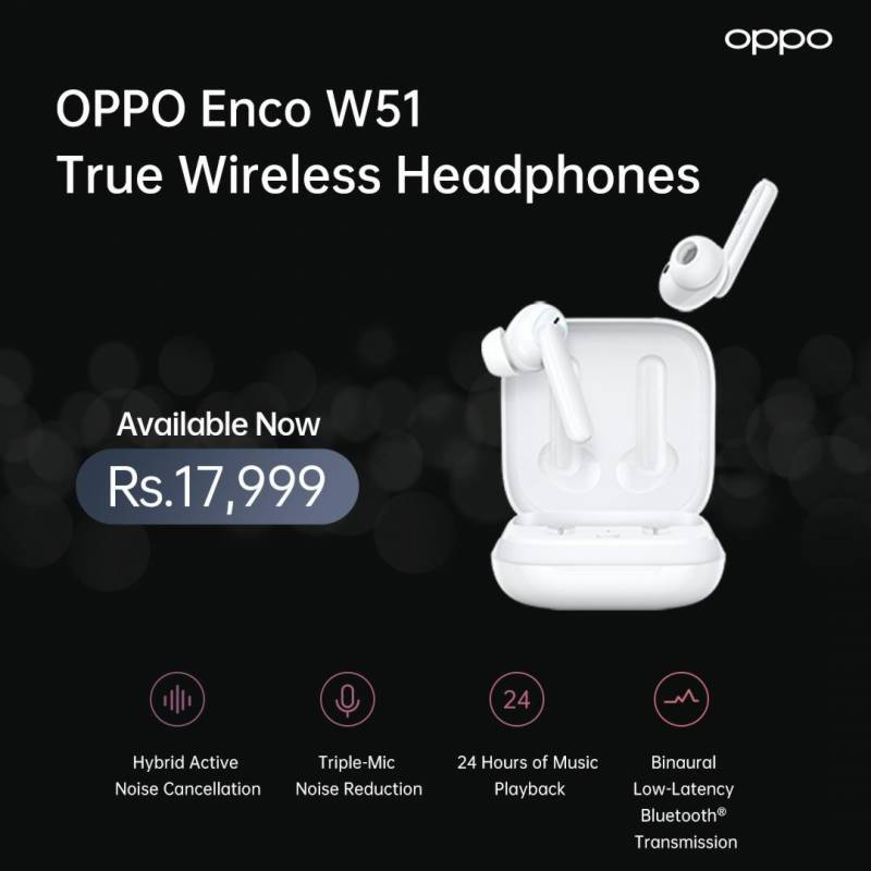 OPPO launches Enco W51 headphones with noise cancellation, wireless charging features