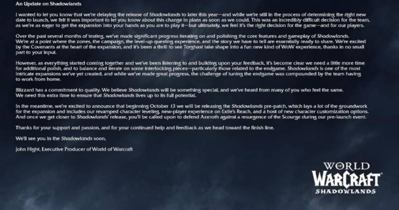World of Warcraft Shadowlands Delayed