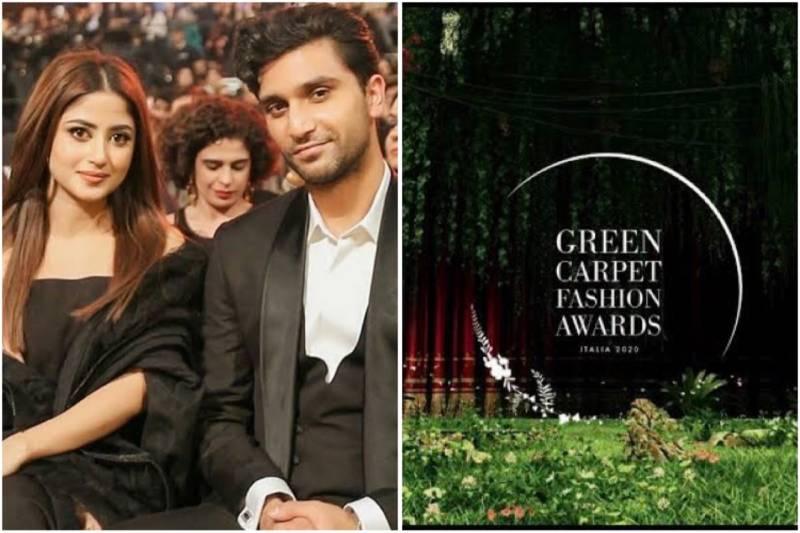 Ahad Raza Mir, Sajal Aly attend digital Green Carpet Fashion Awards