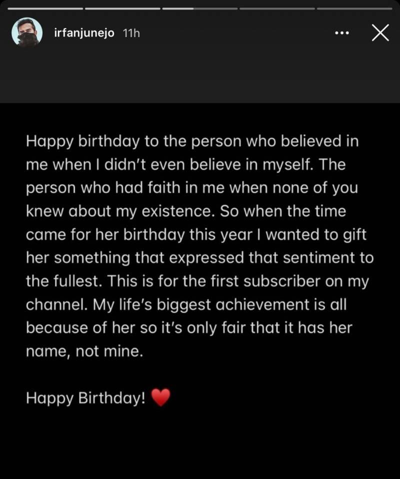 Irfan Junejo pens a heartfelt birthday note for wife