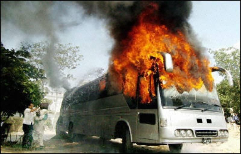 Five killed as bus catches fire near Khuzdar
