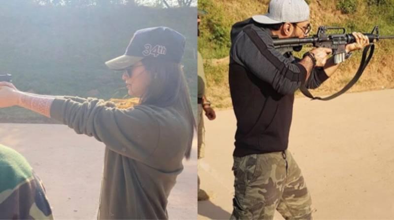 Sana Javed enjoys her day at the shooting range with Umair Jaswal