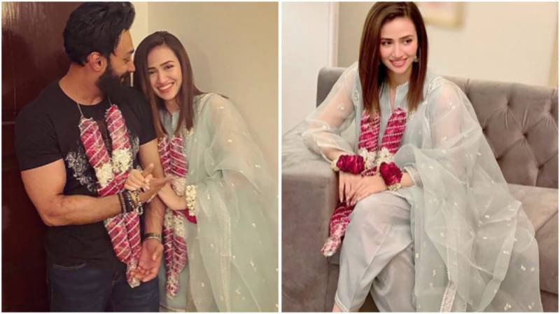 Sana Javed & Umair Jaswal share beautiful throwback pictures from their engagement
