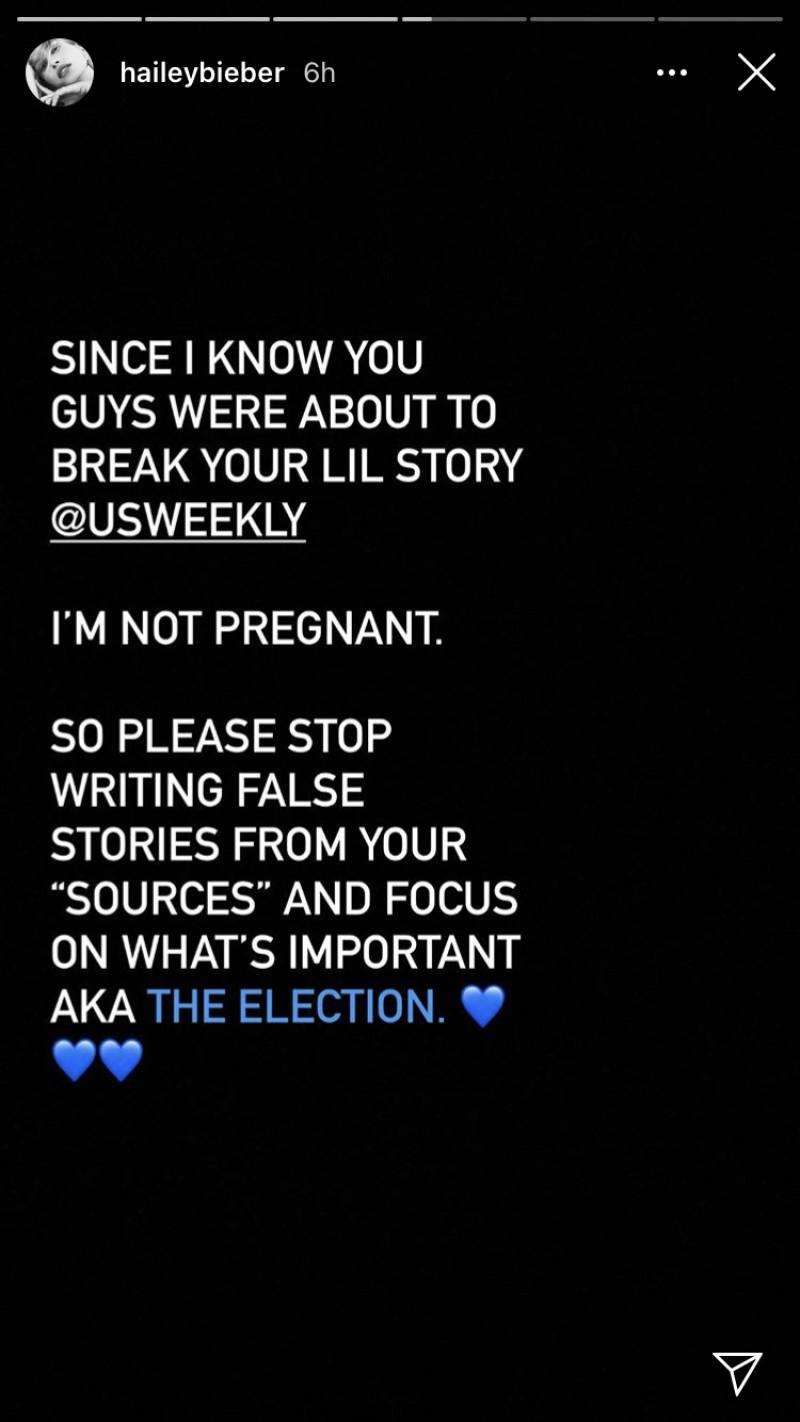 Hailey Bieber shuts down pregnancy rumors