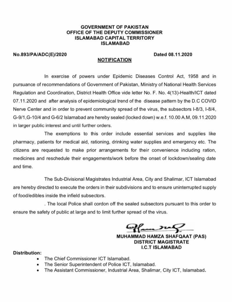 Covid-19 second wave – Smart lockdown imposed in Islamabad's hotspots